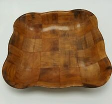 Formosa Large Square Bowl Wood Woven Serving Bread Snack Dish Wooden Salad Snack
