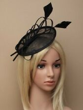 BLACK HATINATOR HAIR FASCINATOR 5893 FEATHER alice band HAT RACE WEDDING hessian