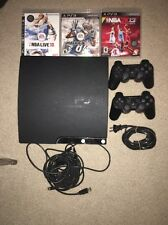 Complete Set-Up - PS3 Sony Slim 120 GB Charcoal Black + Games & 2 Controllers