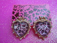 Betsey Johnson KISS XOX Pink Leaopard Heart Stud Earrings