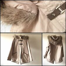 ZARA Girls Faux Fur Hood Lined Parka Coat Jacket 11-12 Y Excellent Condition