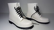 $140 size 6 Circus By Sam Edelman Quinn White Lace Up Womens Rain Boots NEW