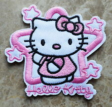 100 pcs HOLY PINK STAR HELLO KITTY embroidered applique iron sew on patch badge