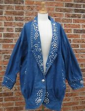 VTG 80's COCOON DENIM jean JACKET JEWELED studs EMBELISHED BEDAZZLED TROPHY XL