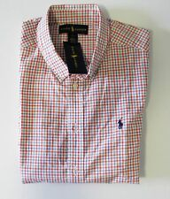 Ralph Lauren Boys Blake Short Sleeve Plaid Shirt Orange Multi Sz M (10-12)- NWT