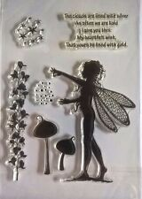 7 Clear Silicone Stamp Fairy Mushroom Sentiment Card Making Scrapbooking Journal
