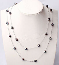 """Fashion Natural 7-8mm Black Rice Akoya Freshwater Pearl Chain Long Necklace 46"""""""