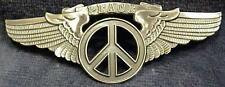 LARGE ANTIQUE SILVER PLATED FINISH PEACE SIGN WINGS PIN