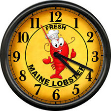 Red Maine Lobster Shop Boiling Pot Seafood Restaurant Fish House Wall Clock