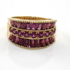 Vintage Solid 14K Yellow Gold Purple Amethyst Concave Estate Ring Size 8 GTA1