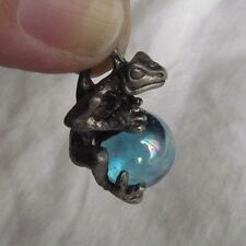 Classic Frog & Blue Glass Orb Lead-free Pewter Pendant Necklace