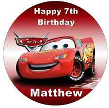 Lightning Mcqueen Disney Cars Personalised Wafer Paper Topper For Large Cake 7.5