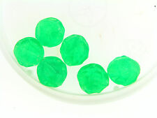 Vintage German Electric Fire Yummy Green Textured Dimpled Lucite Round Bead Lot