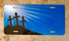 Airbrush Custom License Plate Car Tag Personalized w/ Your Name Jesus Cross