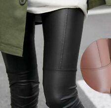 Black Women Stretchy PU Leather Trousers Skinny High Waist Leggings Pencil Pants
