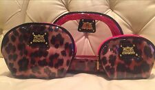 NWT Authentic Juicy Couture Cheetah Design Set Of 3 Cosmetic Cases