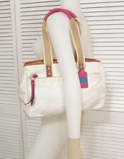 Coach White Satin Nylon Fabric Pink Leather Hamptons Weekend Bag F11993 SOILED