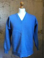 Vintage blue v neck Guernsey fishermans sweater jumper size 42 44