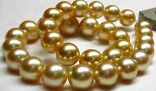 Huge 15mm Natural south sea round gold pearl necklace good luster