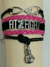 "BOXING/CROSSFIT-FIT2FIGHT-PINK/BLACK LEATHER CHARM BRACELET-7""-9""-#155"