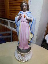 Vintage Statue religion Jesus sacré coeur et ange biscuit sacred Heart and angel