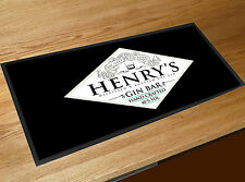 Personalised with your name Black Gin Spirits Label bar runner Mat