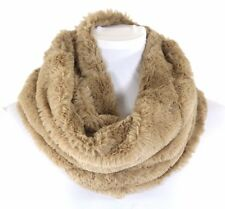 B72 Super Soft Faux Fur Beige Infinity Single Loop Scarf Neck Warmer