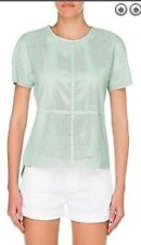 NWT $495 Rachel Zoe Mint Green Perforated Leather Top