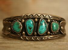 Outstanding Old Pawn Navajo Native Turquoise Sterling Silver Cuff Bracelet