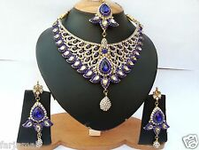 GOLD PLATED DESIGNER A.D KUNDAN NECKLACE SET JEWELRY