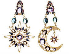 Fashion Retro Full Diamond Moon and Stars Asymmetry Ear Hook Earrings Studs
