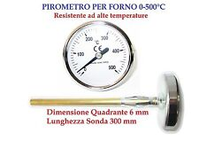 OVEN PYROMETER/ THERMOMETRE  FOR OVENS BIMETALLIC PROBE LENGTH 30CM PROFESSIONAL