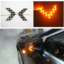 2 x Yellow 14SMD LED Rear View Mirror Turn Signal Lights For Peugeot 206 207 307