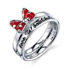 DISNEY MINNIE MOUSE STERLING SILVER 'LOVE IS BOWTIFUL' RED ENAMEL  BAND RING 7
