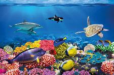 Unterwasser Fototapete - Aquarium Fische Meer Wandbild - XXL Wanddeko