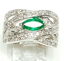 14k White Gold Women Ring With Genuine Diamonds and emerald Size 5.5