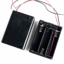 """Battery Holder 3-AA Cells Case Box With 6"""" Cable Leads & Cover & Switch"""