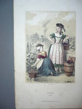 GRAVURE 1880  BRESSE COSTUME  LITHOGRAPHIE COULEURS