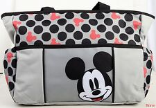BADY INFANT MICKEY MOUSE TOTE LARGE GRAY DISNEY BABY GIFT CUTE POLKA DIAPER BAG