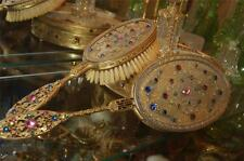 REDUCED Antique Apollo Jeweled Hand Mirror & Brush Set Quality Heavy Set 1920's