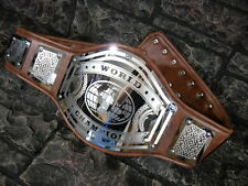 NEW World Championship Belt Avenger Aged Brown Leather Adult Metal Plates wwe