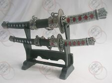 Japanese Samurai 2 set Mini Sword Dagger w/Desk Stand