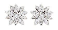 CLIP ON EARRINGS - silver plated flower stud earring with clear crystals - Avril