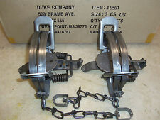 2 New Duke # 3 OFFSET Coil Spring Traps  Beaver Bobcat Coyote  Trapping 0501