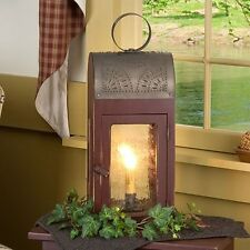 Lakeview Lantern in Sturbridge Red | Primitive Colonial Table Lamp Accent Light
