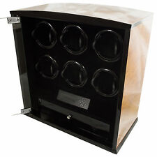 6 Slot Watch Winder Programmable LCD Digital Rosewood