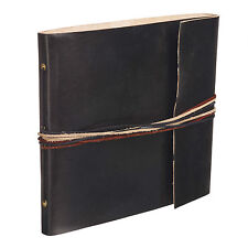 Fair Trade Handmade 3 String Black Leather Photo Album Scrapbook