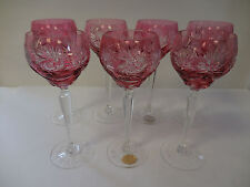 7pc Bleikristall Germany Crystal Wine Hocks Glasses Cranberry Cut to Clear