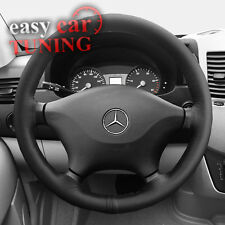 BLACK REAL GENUINE LEATHER STEERING WHEEL COVER FOR MERCEDES SPRINTER 2006+