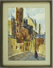 John Stanley Walsh CSPWC (1907-1994)British/Canadian Listed Watercolor Cityscape